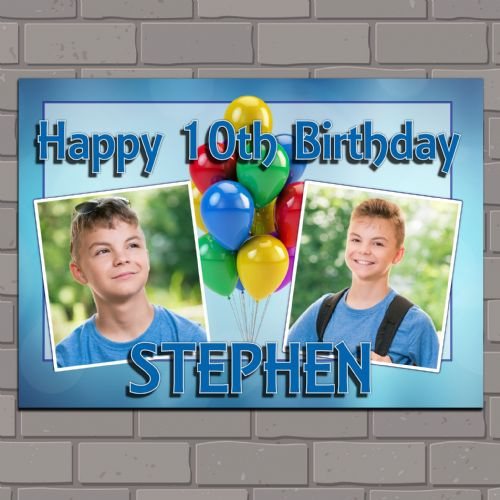 Personalised Birthday Party PHOTO Banner Poster N117 Balloons & Blue Bokeh ANY AGE